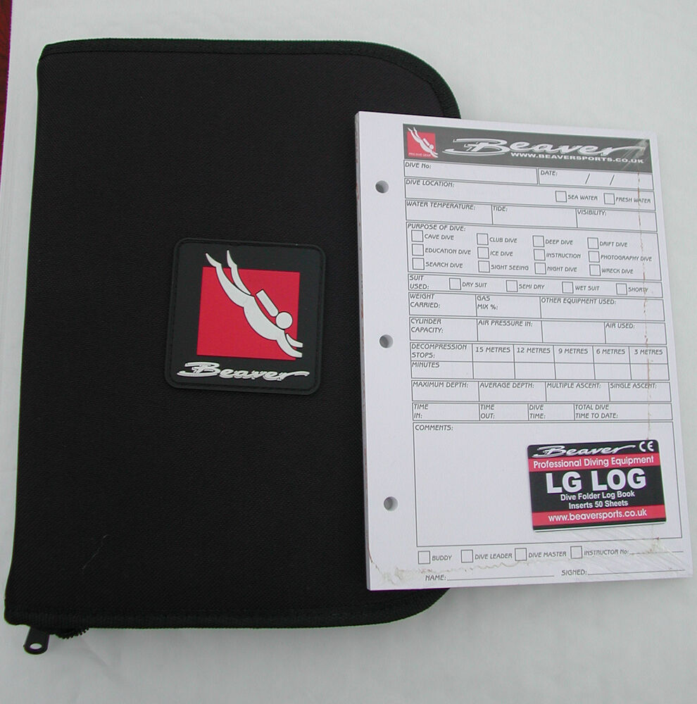Suba Diving LOG BINDER / FOLDER + 50 DIVE LOG SHEETS New