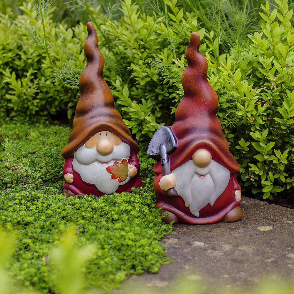 Gnome In Garden: Garden Gnome Ornaments Austin And Basil Happy Long Hatted
