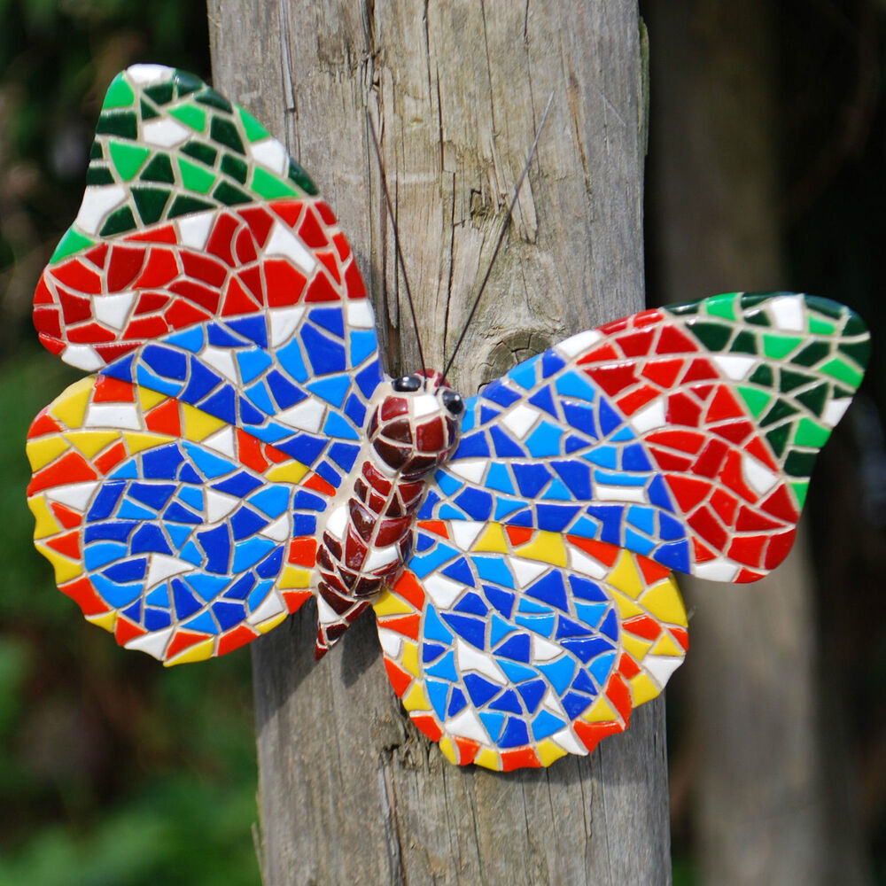 Multi coloured mosaic butterfly garden ornament wall art for Outdoor butterfly ornaments