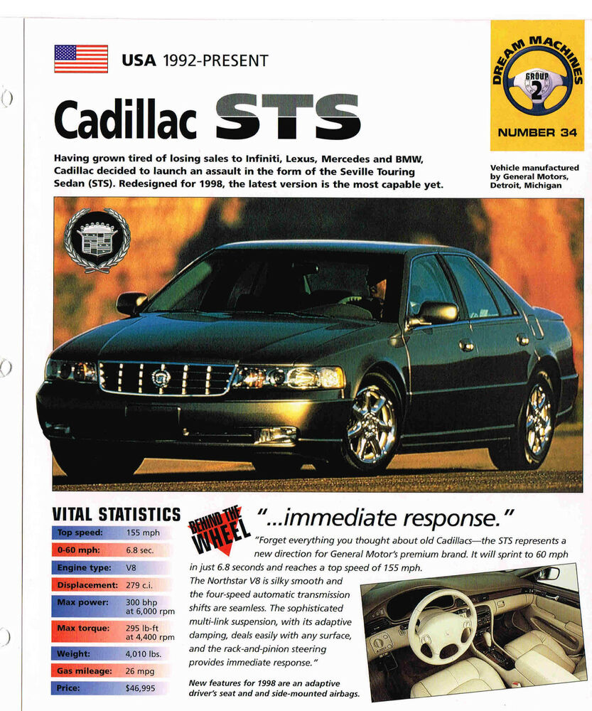 1997 / 1998 CADILLAC STS SPEC SHEET / Brochure / Pamphlet