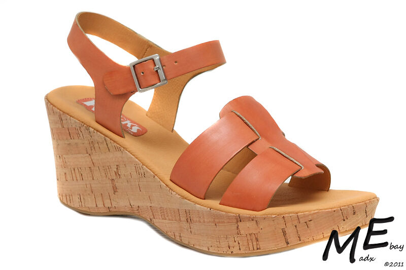 New Korks By Kork Ease Brie Wedge Women Leather Sandals