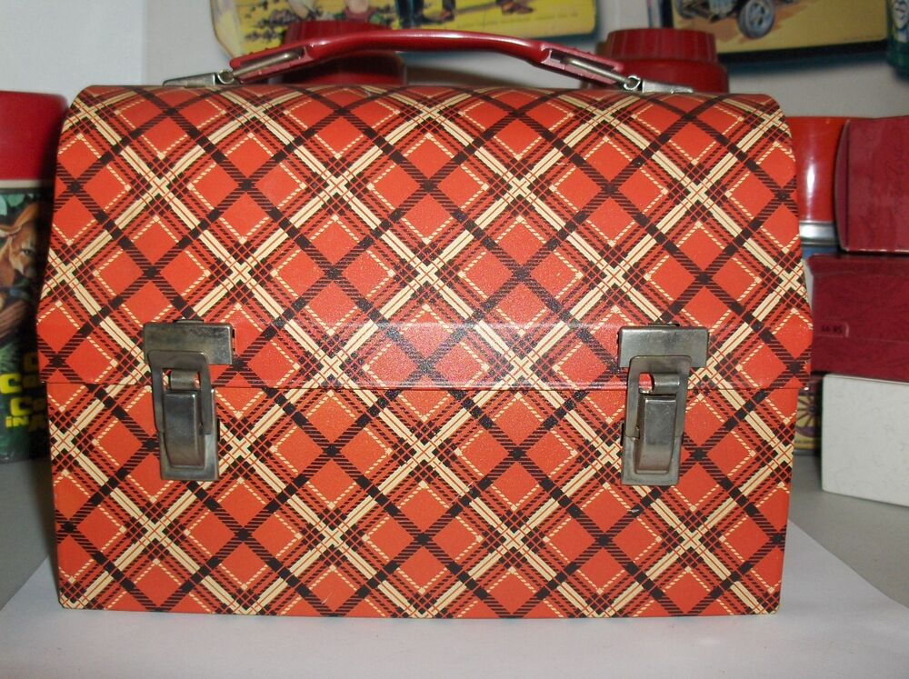 Plaid Red Amp White 1960 King Seeley Thermos Co Dome Style Metal Lunchbox Free Us Ebay