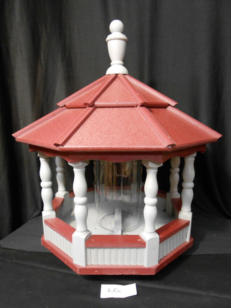 Large Spindle Poly Bird Feeder Amish Handcrafted Handmade Gray With Red Roof Ebay