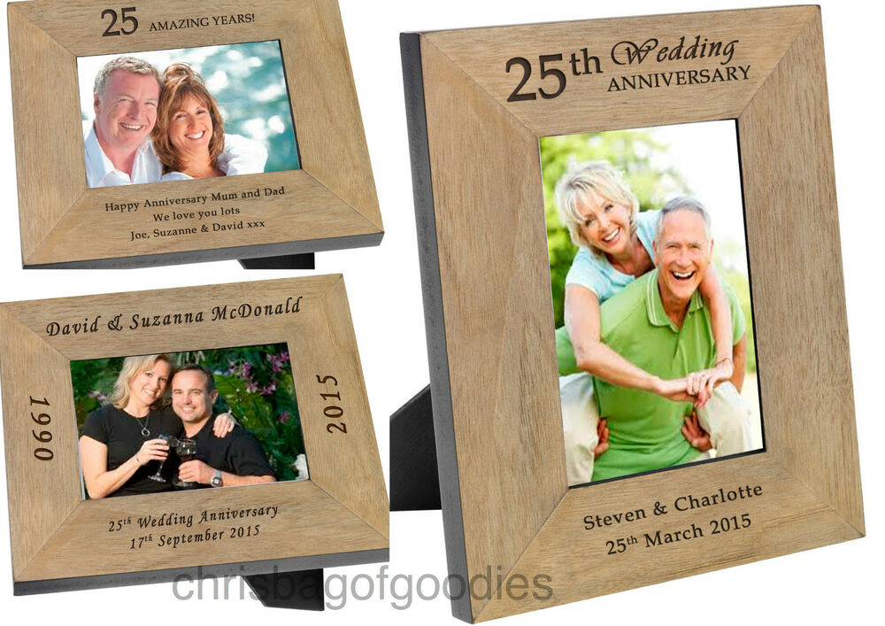 PERSONALISED WEDDING ANNIVERSARY Oak PHOTO FRAME for Gifts ALL YEARS ...