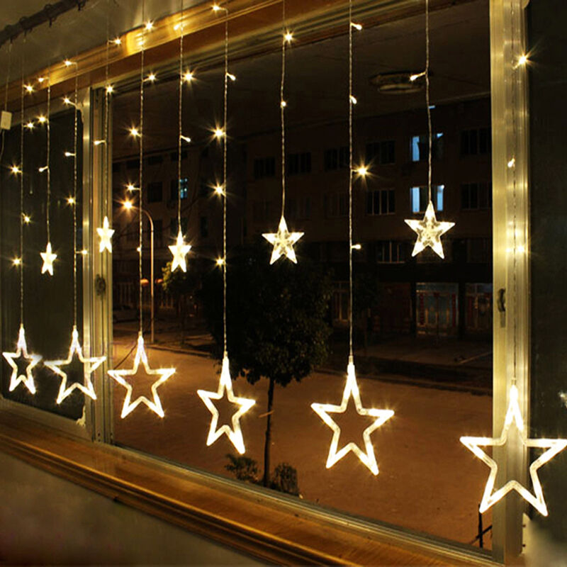 warm white 12 twinkling stars christmas fairy string. Black Bedroom Furniture Sets. Home Design Ideas