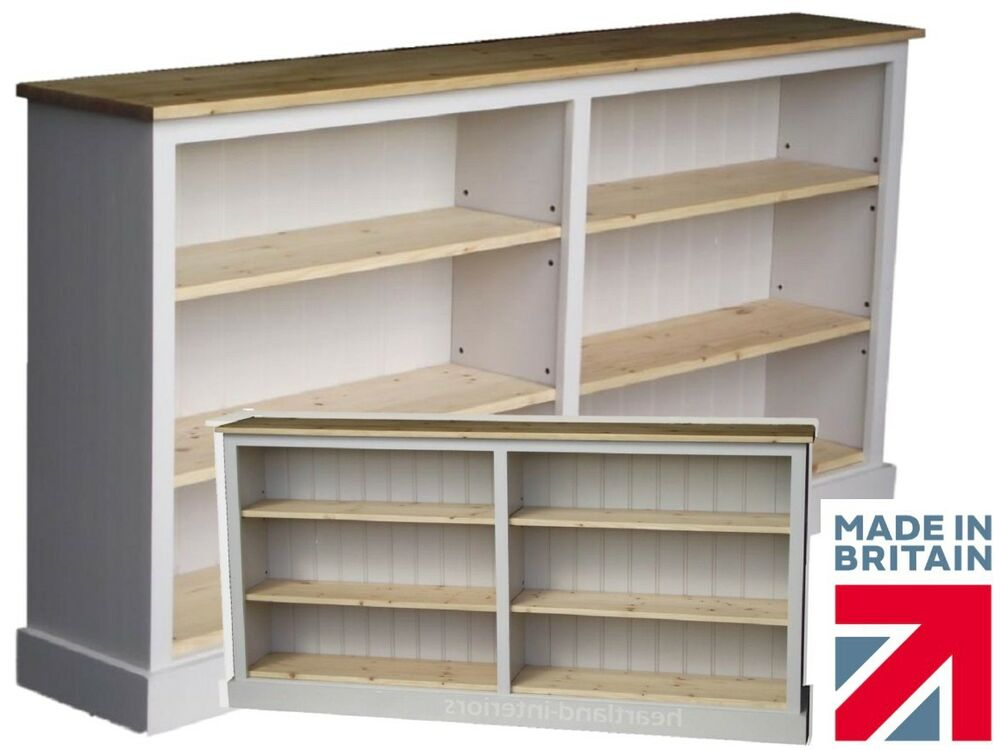 Low White Painted Bookcase,6ft Wide Adjustable Display ...