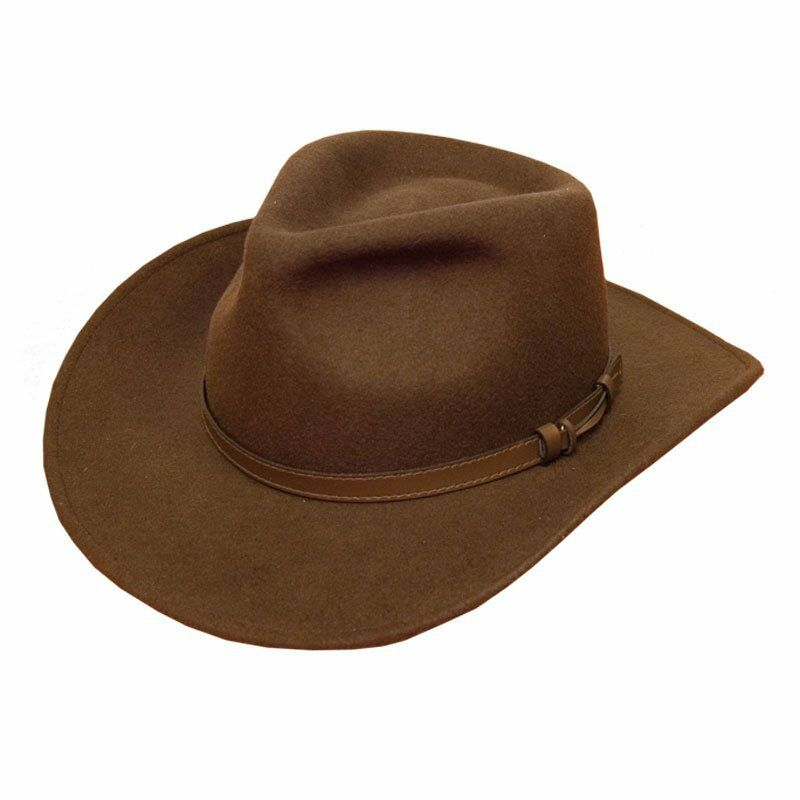 Product Description The tiller is a wide-brim round-top felt fedora with a leather strap.