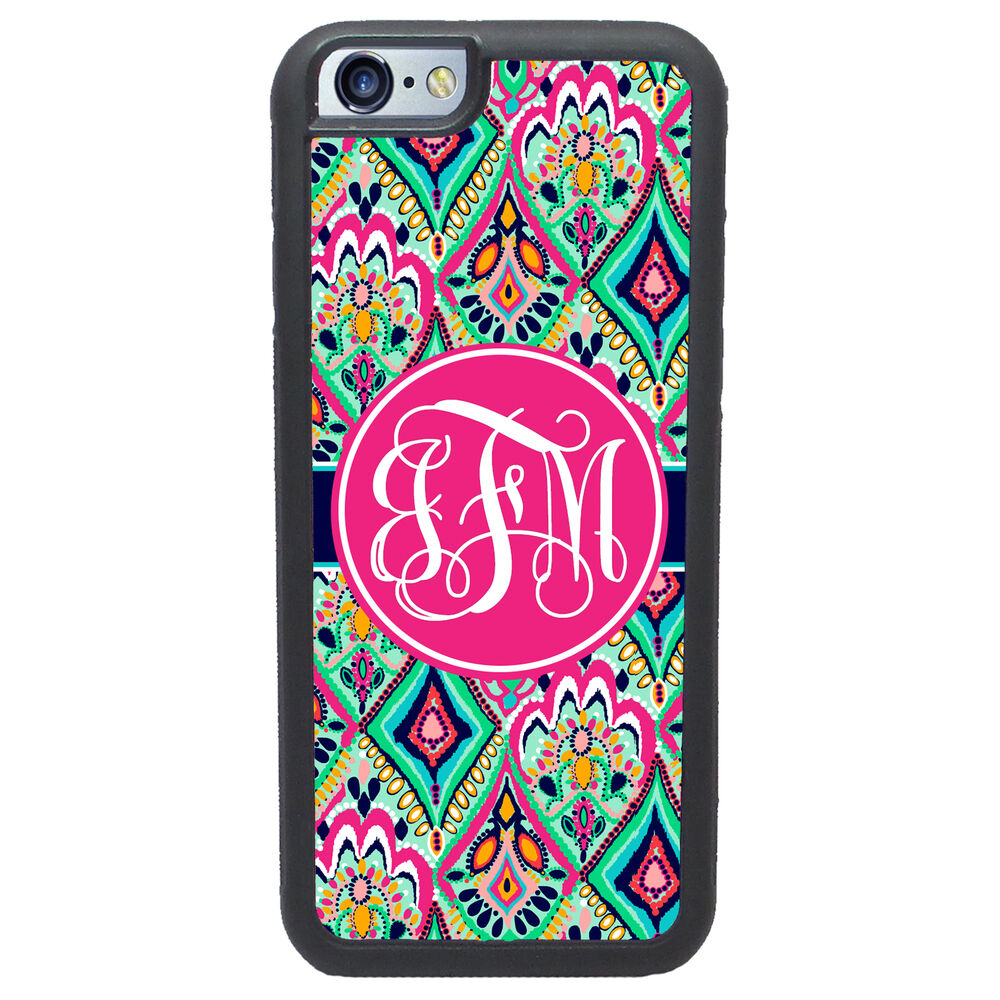 customized iphone cases personalized pretty floral jewels pink monogrammed 6199