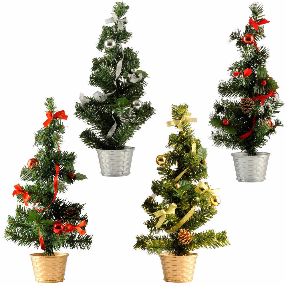 k nstlicher weihnachtsbaum im topf mit schleife und kugeln geschm ckt ca 45cm ebay. Black Bedroom Furniture Sets. Home Design Ideas