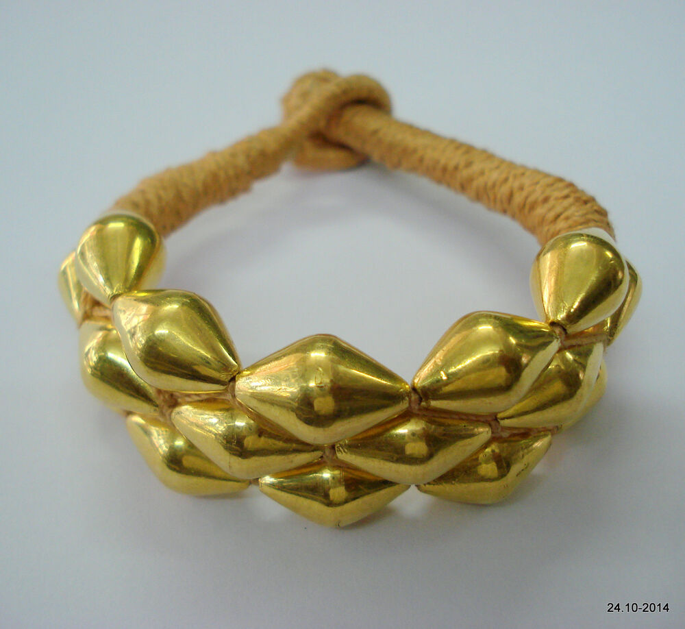 Gold Jewelry Bracelets: Vintage Tribal 22k Gold Beads Bracelet Bangle Cuff