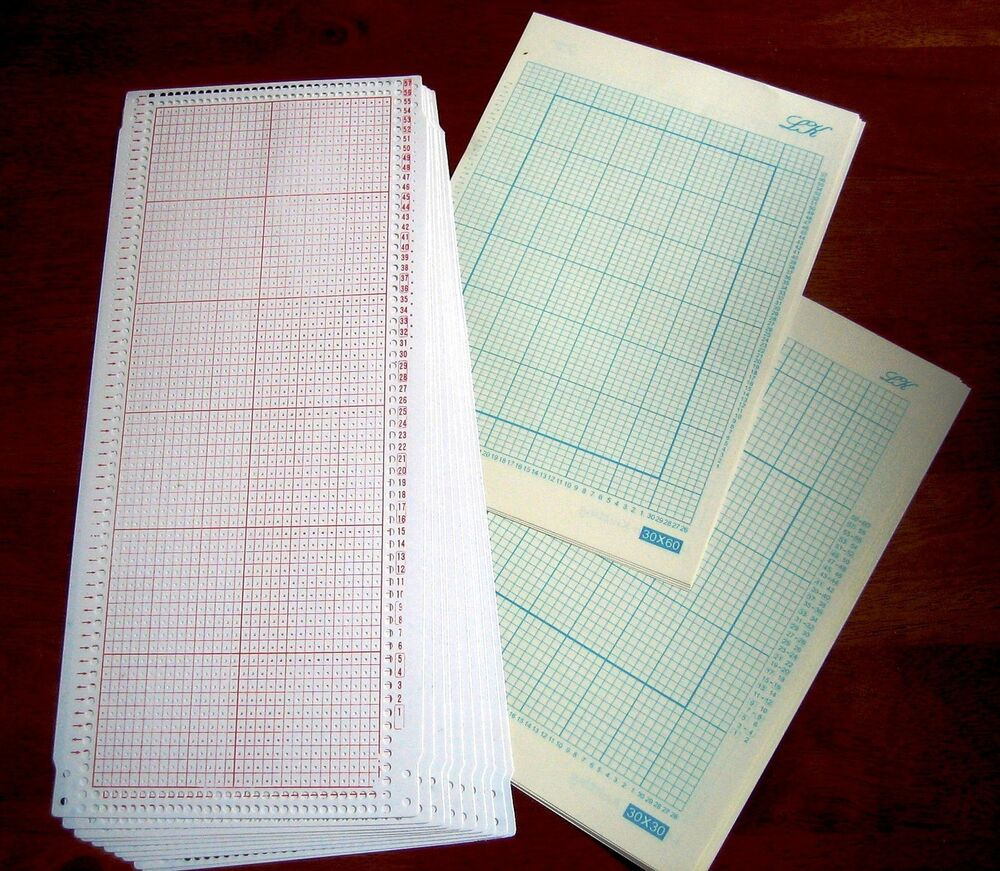 Knitting Graph Paper Uk : Blank stitch punchcard grid paper for silverreed
