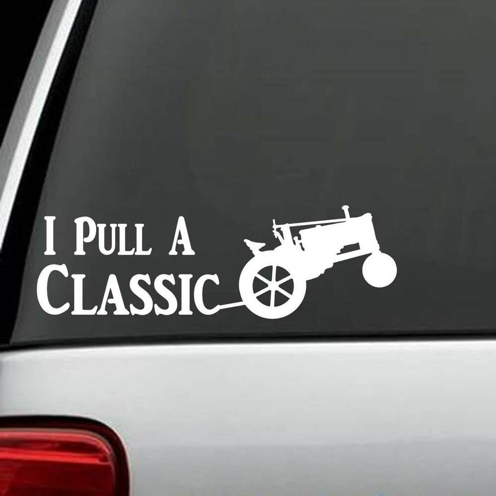 Garden Tractor Pulling Sticker : A antique tractor pulling decal sticker for car truck