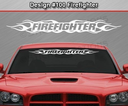 Design 100 Firefighter Flame Flaming Windshield Decal