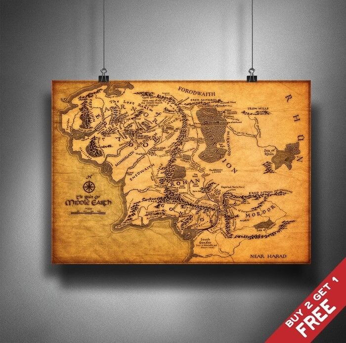 A3 THE MAP OF MIDDLE EARTH Lord Of The Rings POSTER Home Wall Art ...
