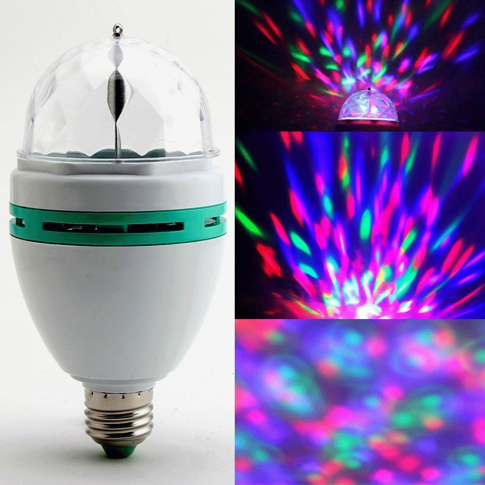 3w e27 rgb crystal ball rotating led stage light bulb for club dj disco party ed ebay. Black Bedroom Furniture Sets. Home Design Ideas