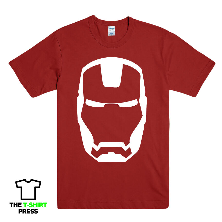 Iron man mask printed mens t shirt marvel comic book for Iron man shirt for men
