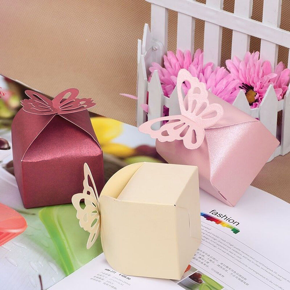 Wedding Gift Box Ebay : ... Butterfly Candy Box Pearl Paper Gift Boxes Wedding Party Favor eBay