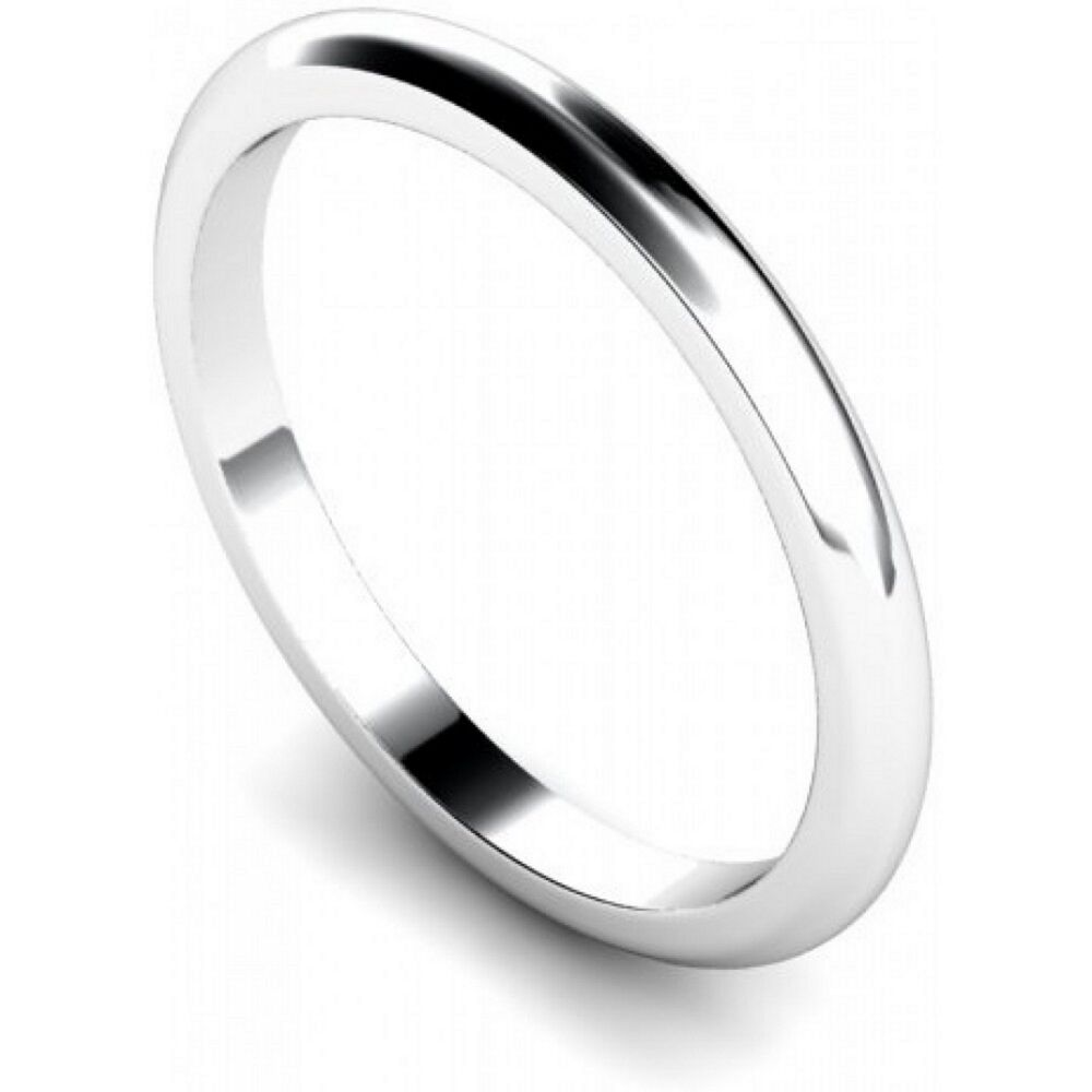 Platinum Finish 925 Sterling Silver 2mm Wedding Ring Band D Shape Various Sizes