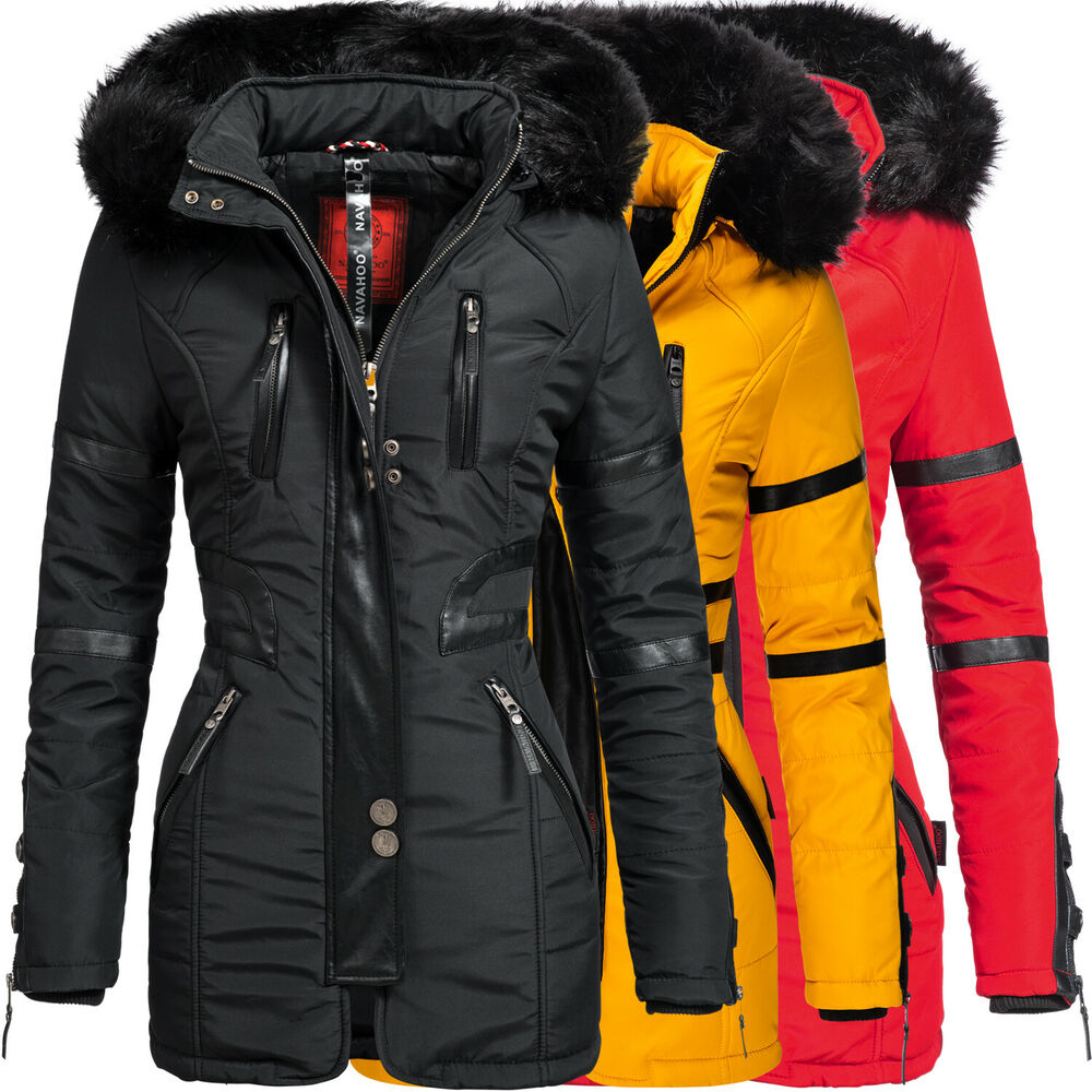 navahoo moon damen designer winter jacke warmer mantel lang parka gef ttert ym99 ebay. Black Bedroom Furniture Sets. Home Design Ideas