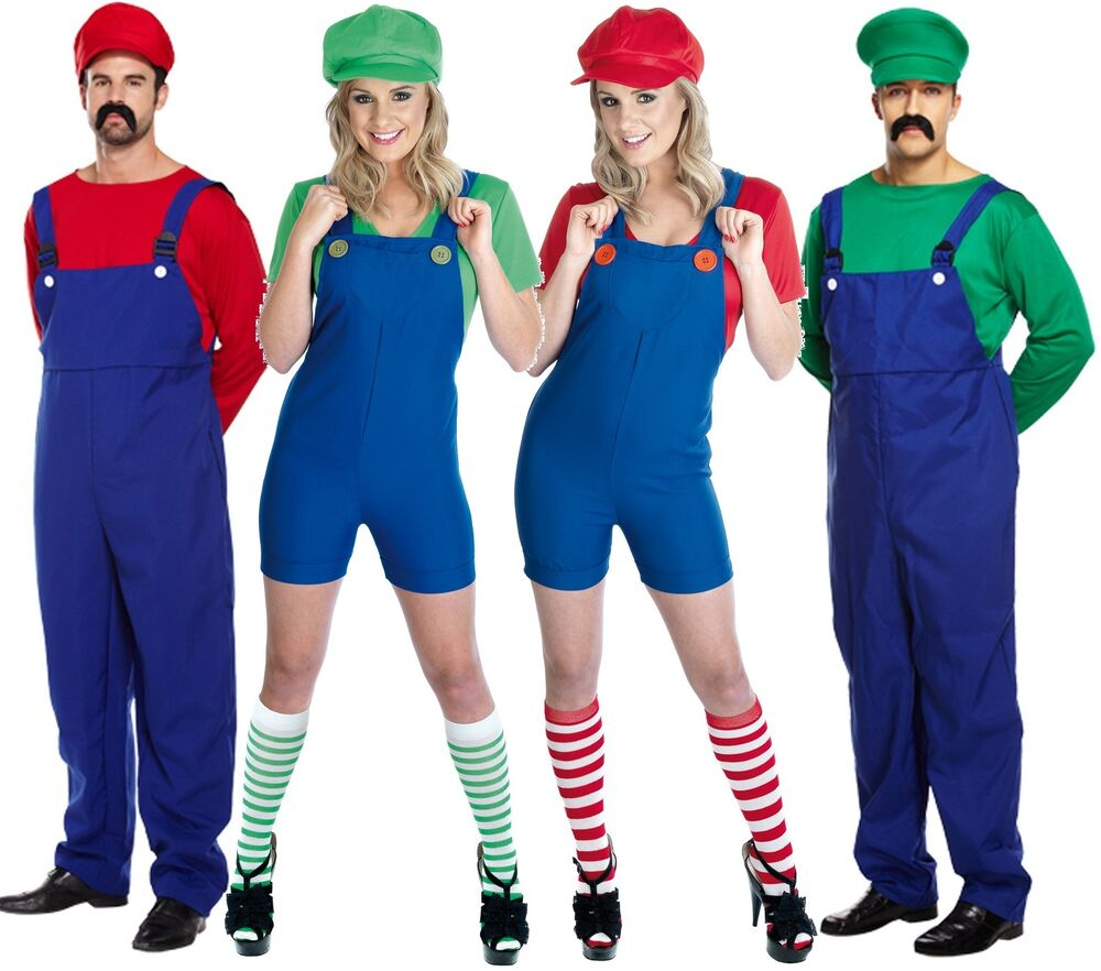 paar erwachsene herren damen mario und luigi 80s kost m verkleidung outfit ebay. Black Bedroom Furniture Sets. Home Design Ideas