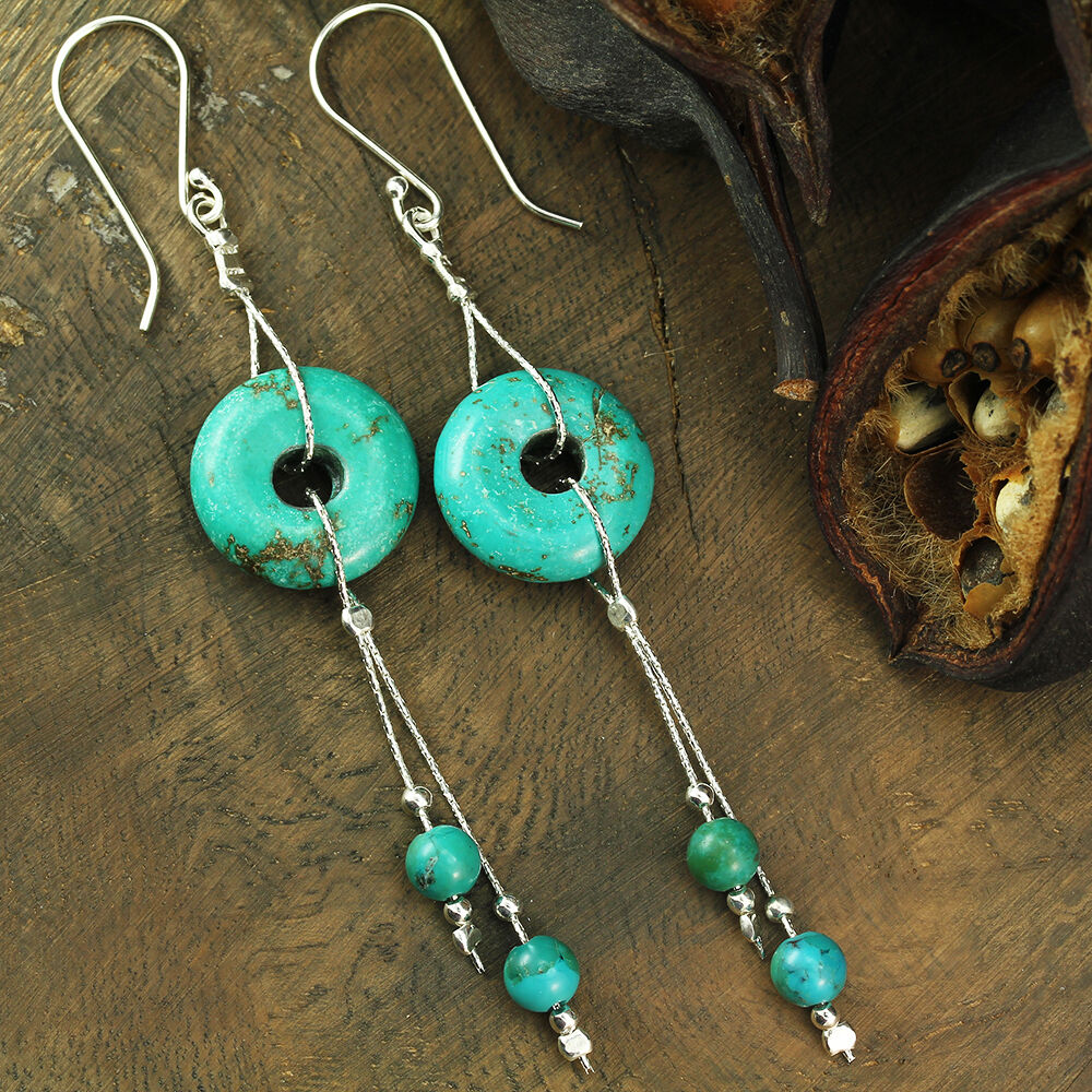 made earrings artisan handmade jewelry 925 sterling silver turquoise 8872