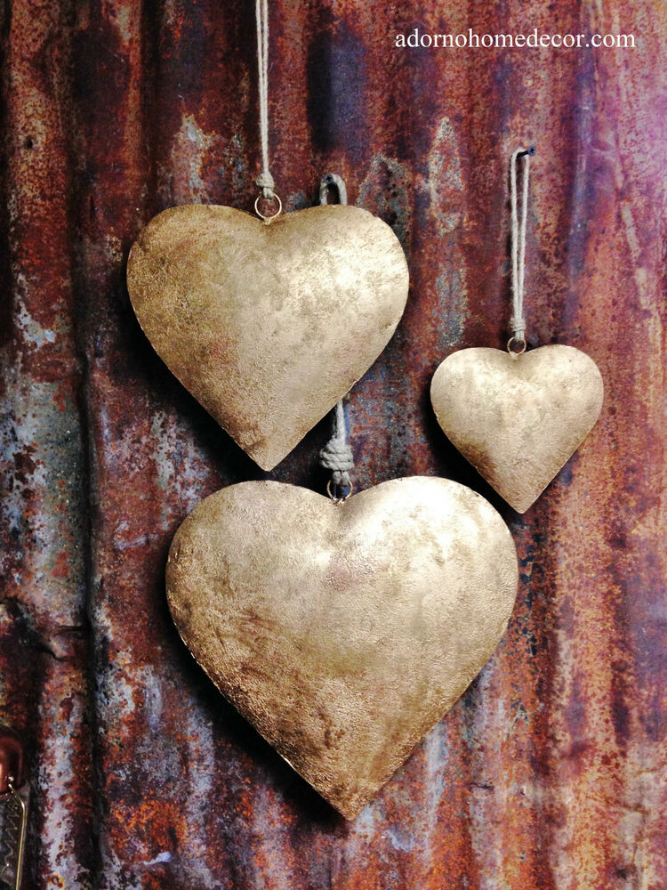 Large Iron Heart Set Jute Rope Recycled Metal Rustic Chic