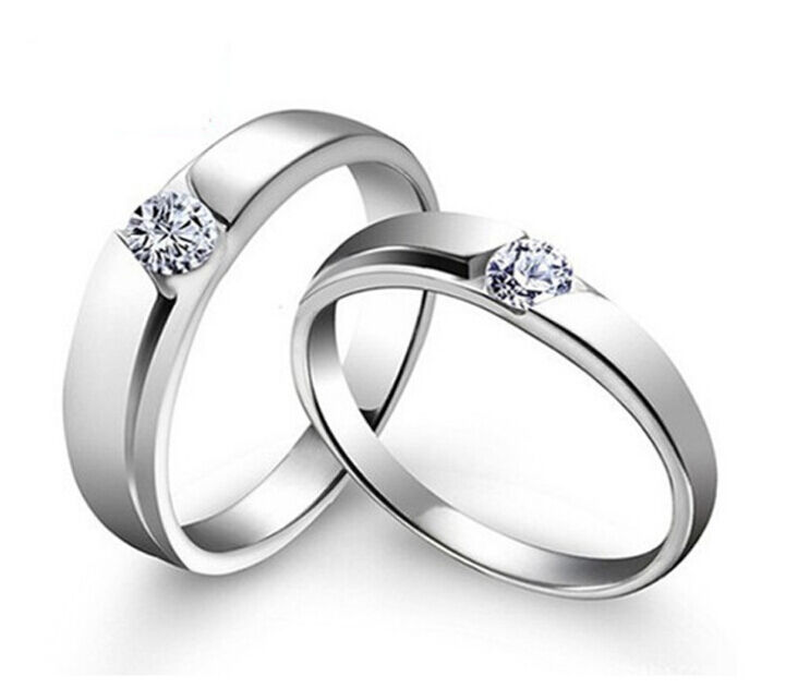 Engagement Rings For Couples: Sz4-11 S925 Silver Couple Ring Simple CZ Engagement Ring