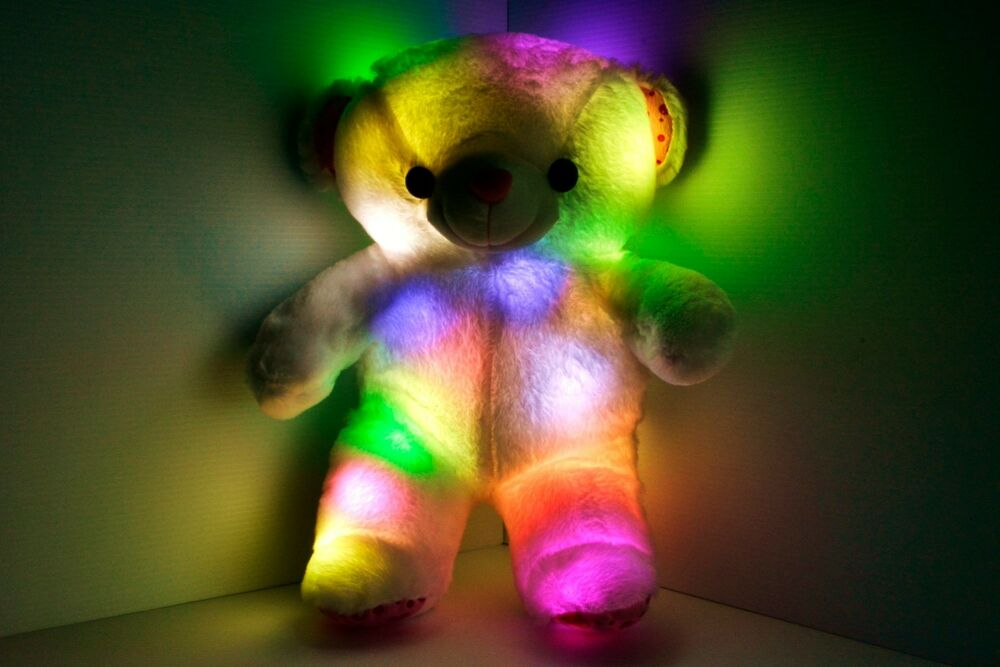 Led Light Up Teddy Bear Pillow Soft Multi Color Rotation
