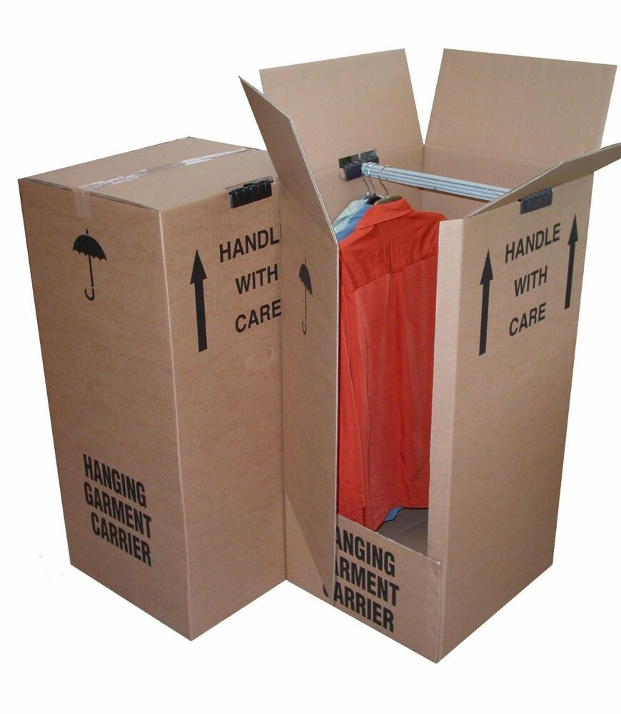 Strong removal moving wardrobe cardboard boxes with hangers ebay