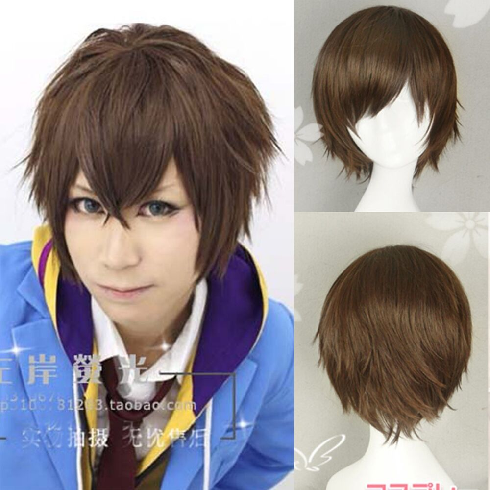 New Fashion Anime Wig Cool Men Cosplay Party Short Brown ...