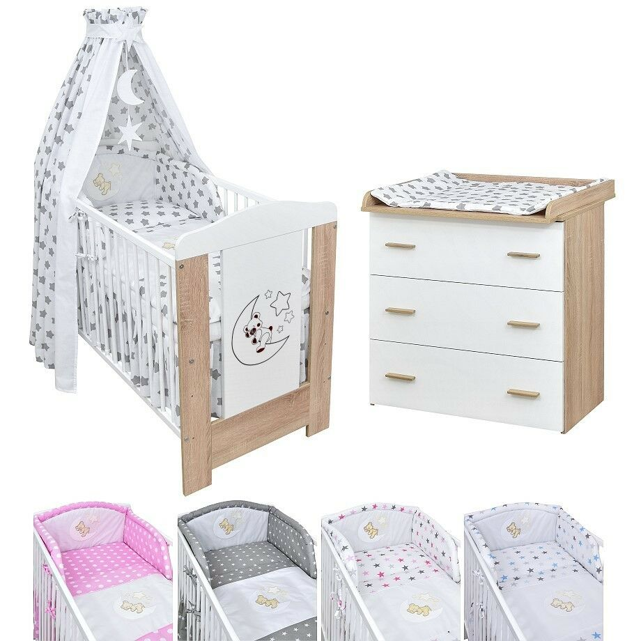 babyzimmer babybett kinderbett mond teddy wickelkommode bettset komplett ebay. Black Bedroom Furniture Sets. Home Design Ideas