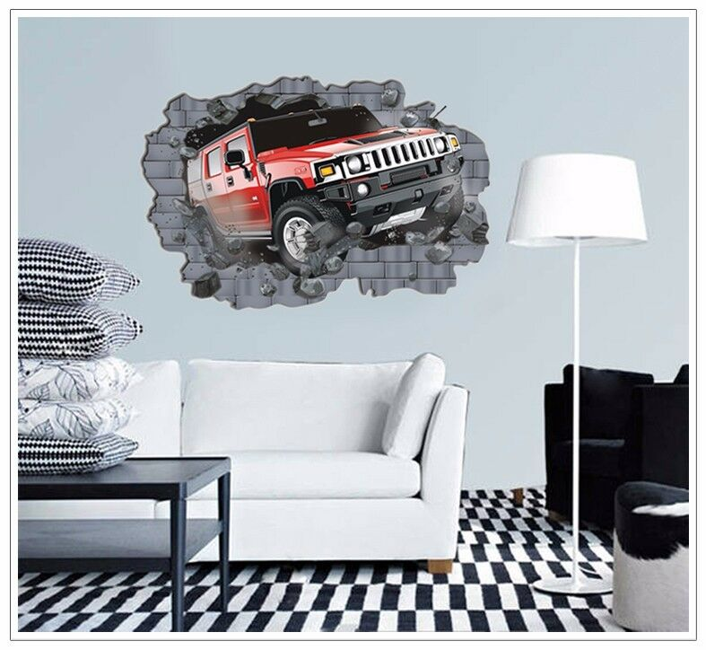 wandtattoo wandsticker 3d auto kinderzimmer jugendzimmer wohnraum junge rennen ebay. Black Bedroom Furniture Sets. Home Design Ideas