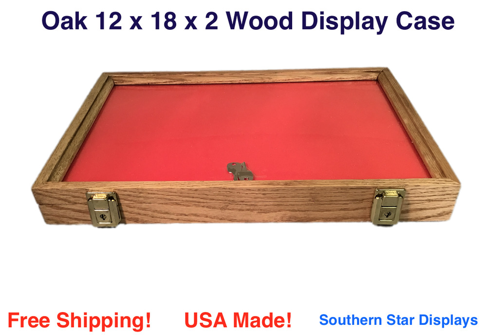 oak wood display case 12 x 18 x 2 for arrowheads knifes collectibles more ebay. Black Bedroom Furniture Sets. Home Design Ideas
