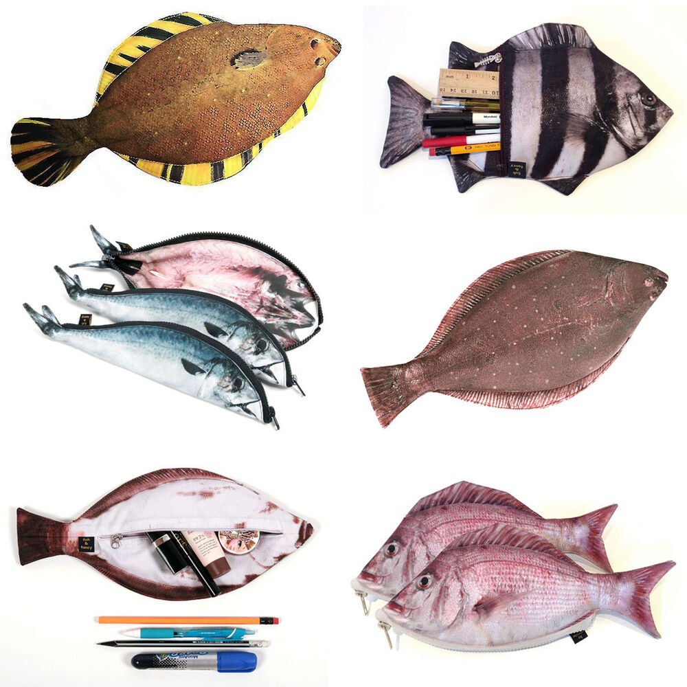 Real fish like zipper pencil case pen make up pouch for Fish pencil case