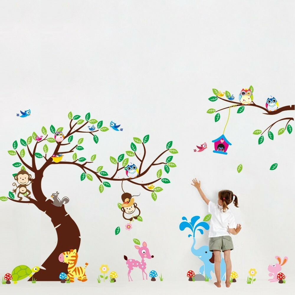 wandtattoo wandsticker xxl deko tiere kinder sticker wald affe kinderzimmer baum ebay. Black Bedroom Furniture Sets. Home Design Ideas