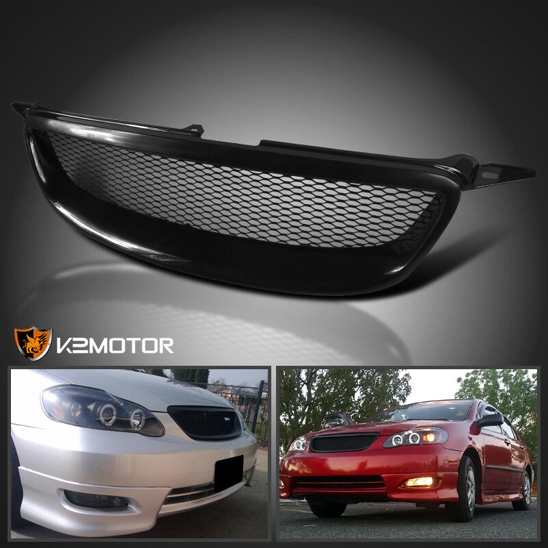 For 2003 2008 Toyota Corolla Front Mesh Grill Grille Black