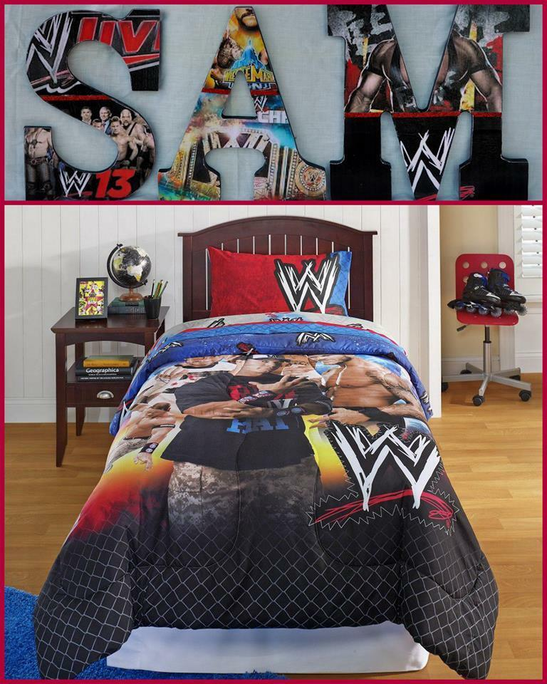 Wwe 9 childrens wooden letters decor can do any theme ebay for Wwe bedroom accessories