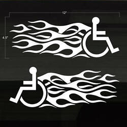 Handicapped Handicap Wheelchair Fast Flames Set of 2 WHITE Decal Stickers 12x4.5