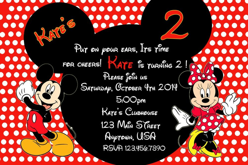 Details About Mickey Mouse Birthday Invitation Minnie Party Supply
