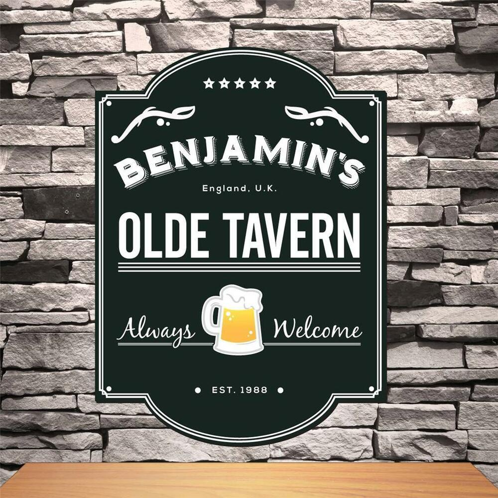 Personalized Olde English Tavern Sign Custom Name Wood Pub