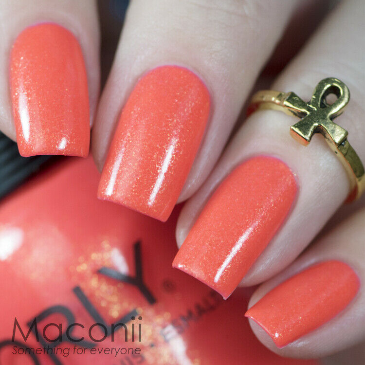 Orly Ablaze Bright Neon Orange With Gold Shimmer Baked Nail