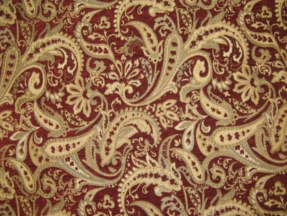 upholstery chenille fabric crimson paisley drapery fabric by the yard 57 wide ebay. Black Bedroom Furniture Sets. Home Design Ideas