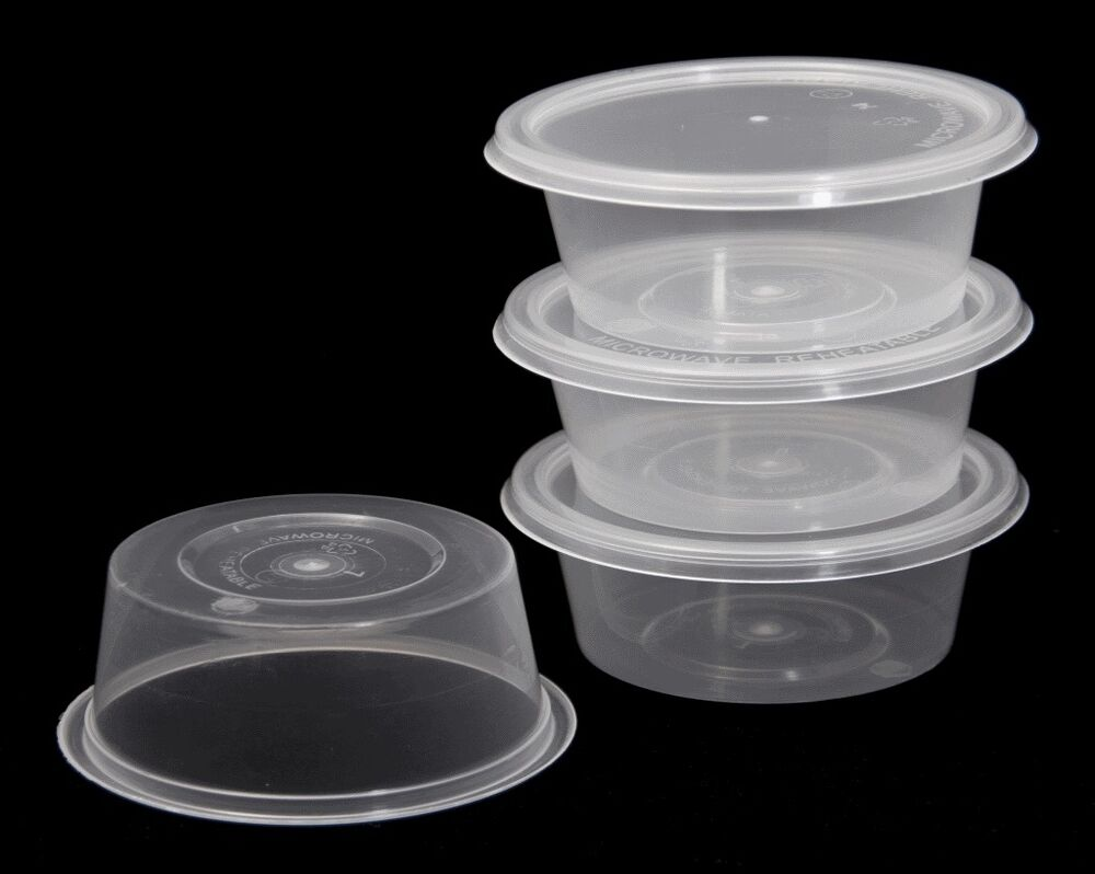 Clear Plastic Round Containers Tubs Pots With Lids
