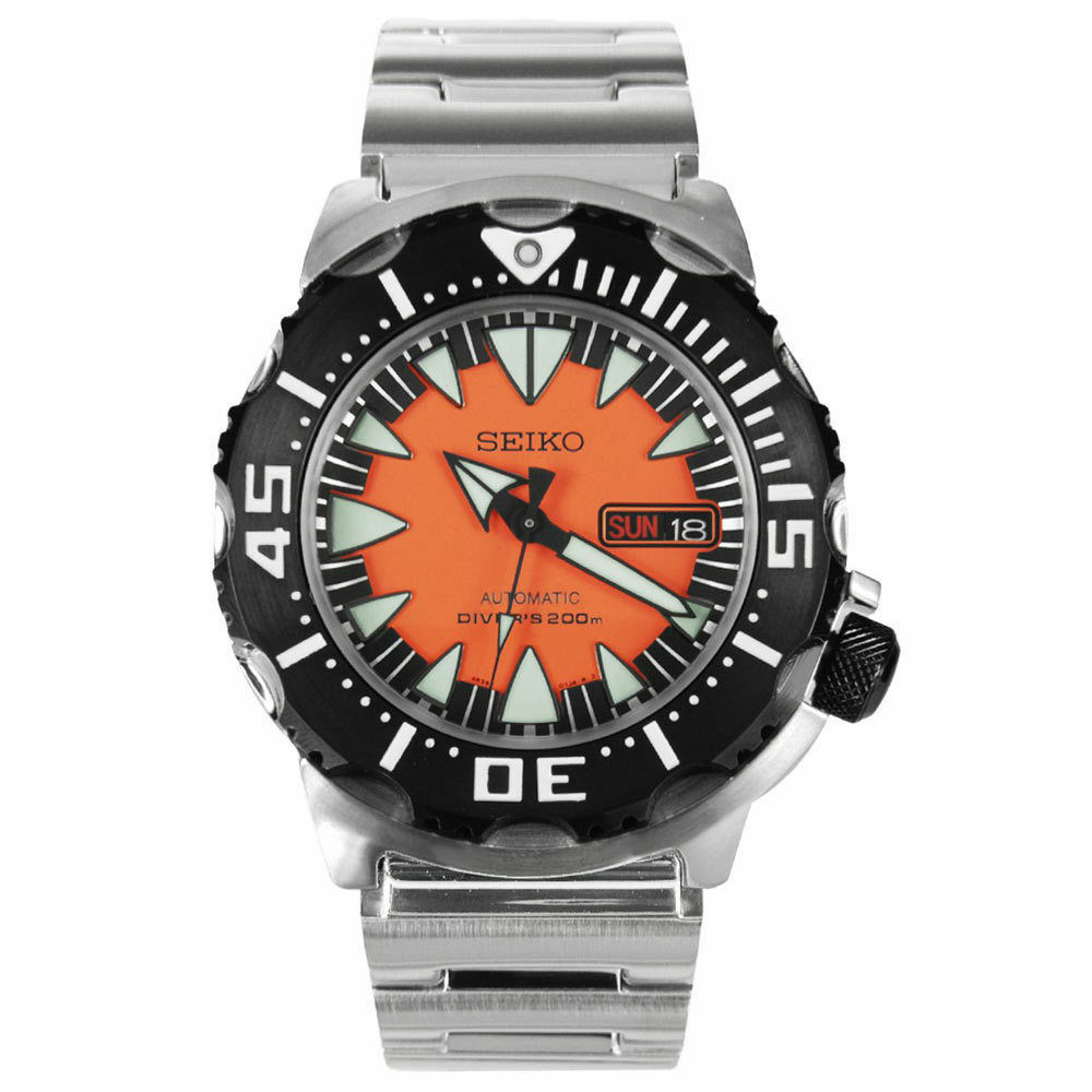 Seiko automatic diver black and orange dial stainless - Orange dive watch ...