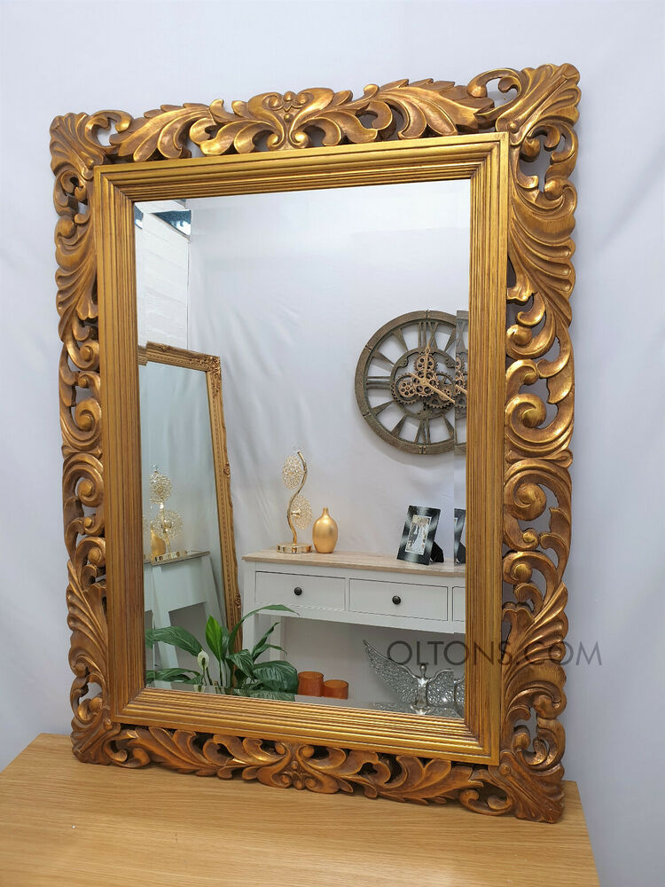 Large renaissance antique gold ornate beveled wall mirror for Large wall mirror wood frame