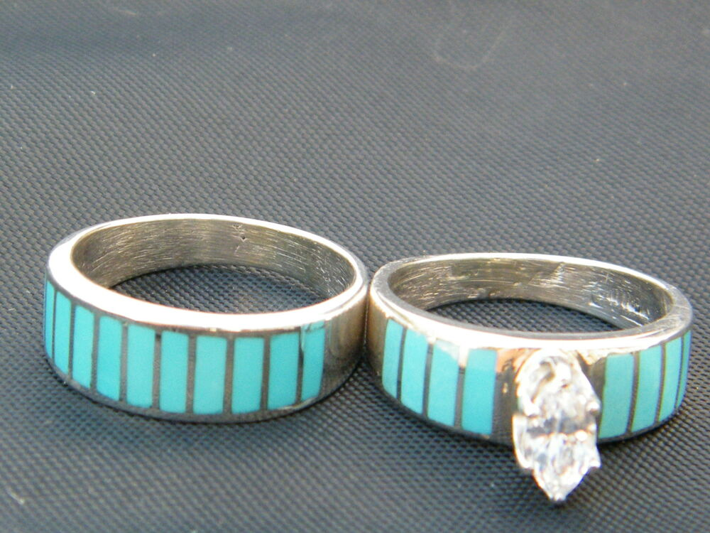 Wedding Band Ring Native American Navajo Indian Sterling Turquoise CZ Sz 7