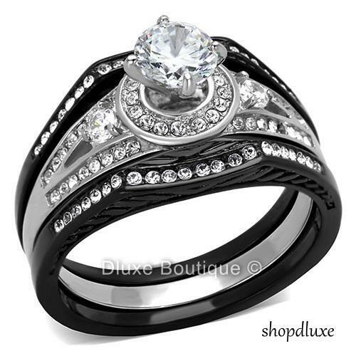 wedding rings black 2 15 ct halo cut cz black stainless steel wedding 1018