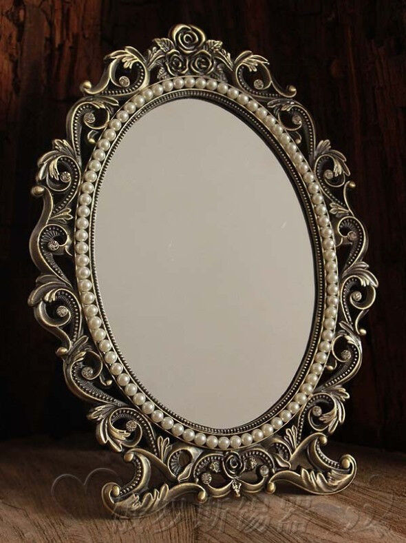 gorgeous vintage antique style baroque decorative art deco vanity stand mirror ebay. Black Bedroom Furniture Sets. Home Design Ideas