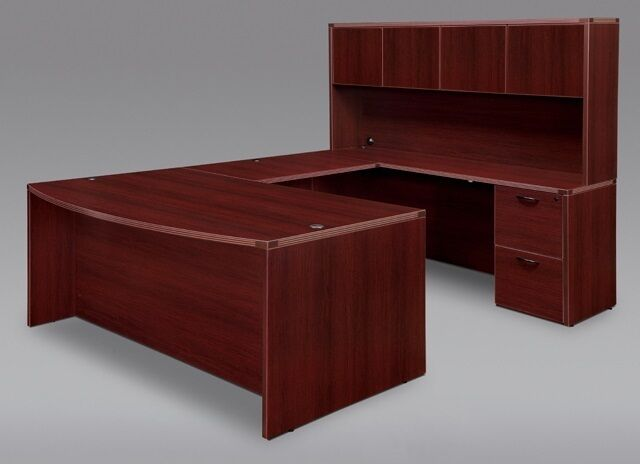 Warm Cherry Executive Desk Home Office Collection: New Amber Bowfront U-Shape Executive Office Desk With
