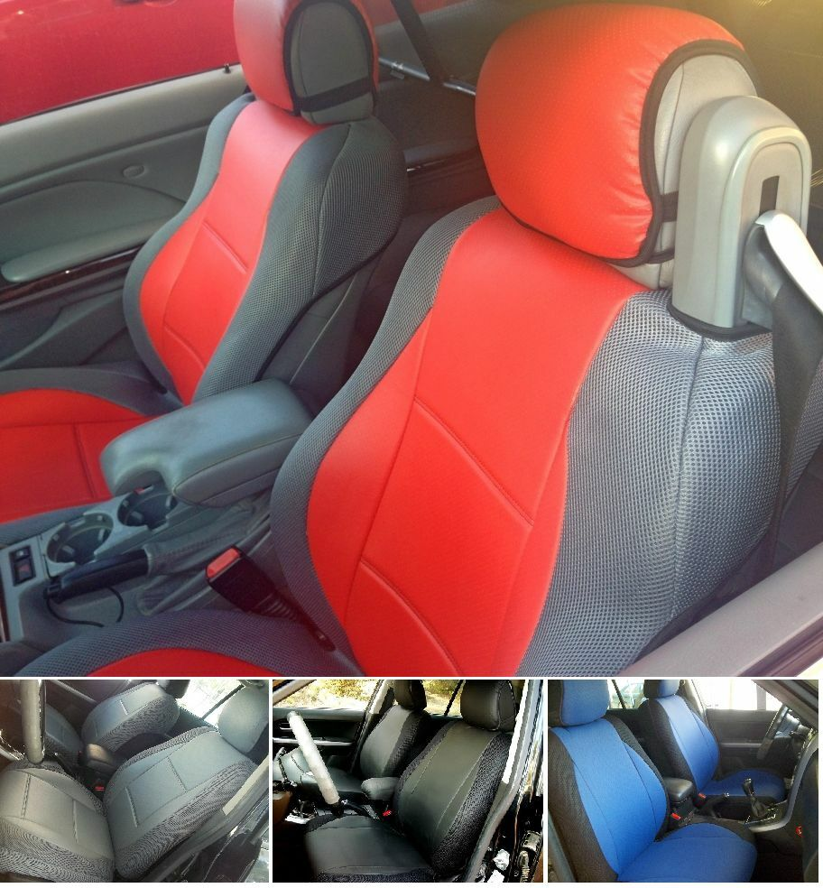 TWO FRONT LEATHERETTE And SYNTHETIC CUSTOM CAR SEAT COVERS